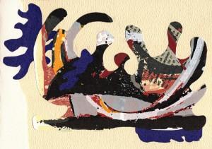 Carte d'art - Papiers découpés - Collage
