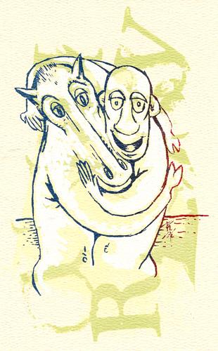 Le meilleur ami de l'homme - Carte d'art en sérigraphie