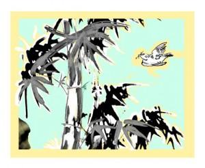 L'oiseau dans les bambous - Carte d'art imprimée en sérigraphie