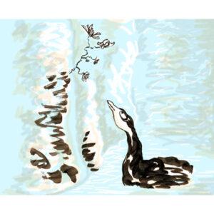 Le canard et la fleur - Carte en Sérigraphie d'art