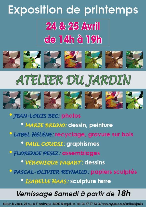 Exposition à l'Atelier du jardin 24 et 25 avril 2010
