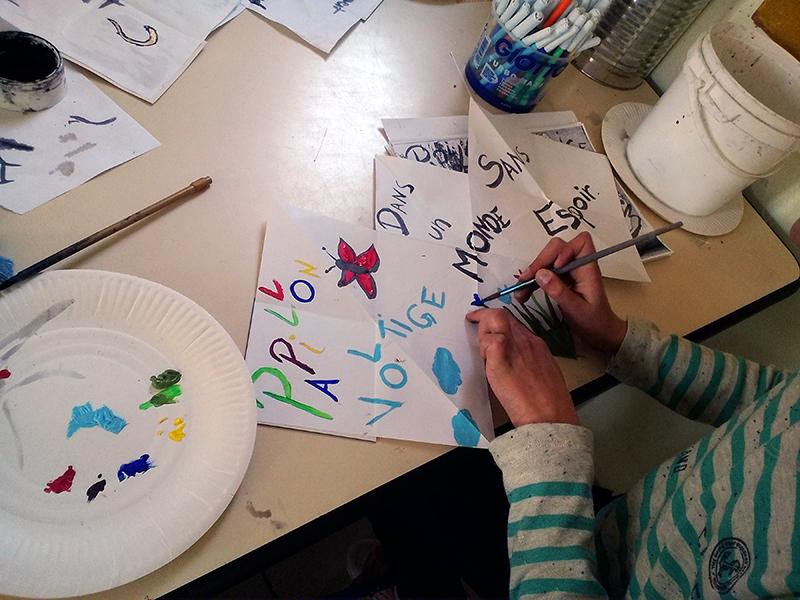 Animation origami, encres, peintures et livrets de poésie