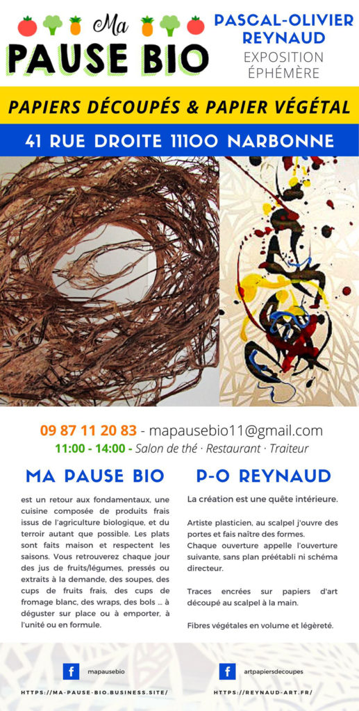 Exposition Papiers découpés et Fibres végétales - Pascal-Olivier Reynaud - Décembre 2020 - Ma Pause Bio à Narbonne